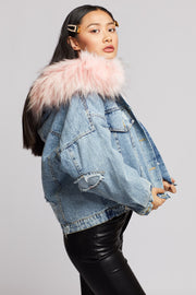 Short Denim Fur Detail Hood Jacket - Berness
