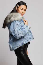 Short Denim Fur Details Jacket - Berness