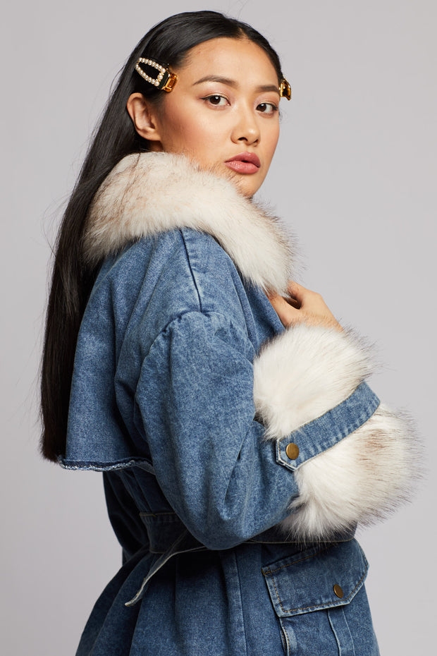 Light Washed Faux Fur Denim Jacket - Berness