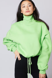 High Neck Tie Waist Sweater - Berness