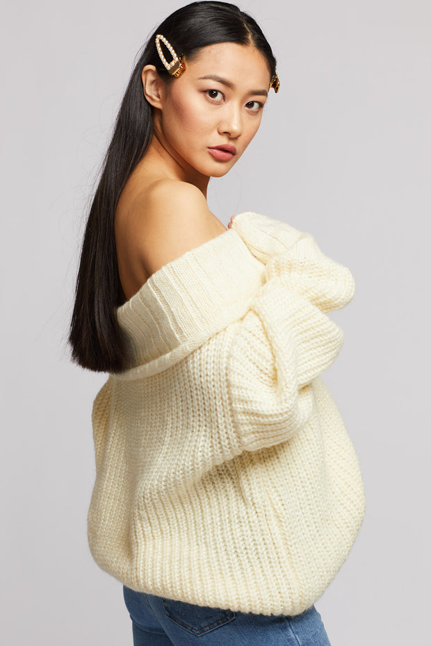 Off-Shoulder Knit Sweater - Berness
