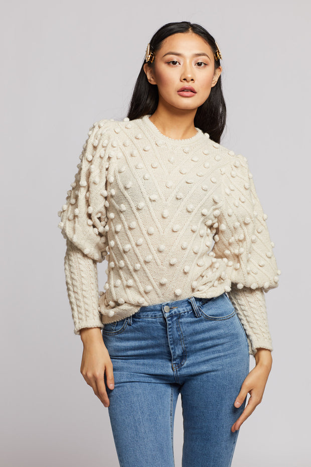 Pom Pom Puff Sleeve Knit Sweater - Berness