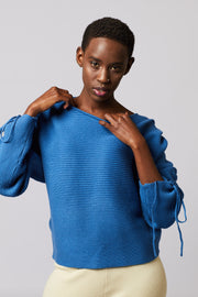 Ribbed Ruched Sleeve Sweater - Berness