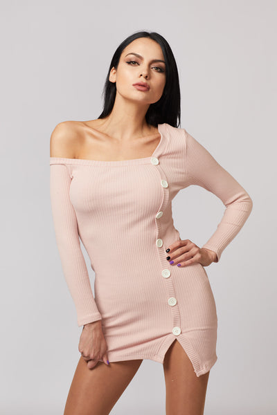 Ribbed Side Button Detailed Dress - Berness
