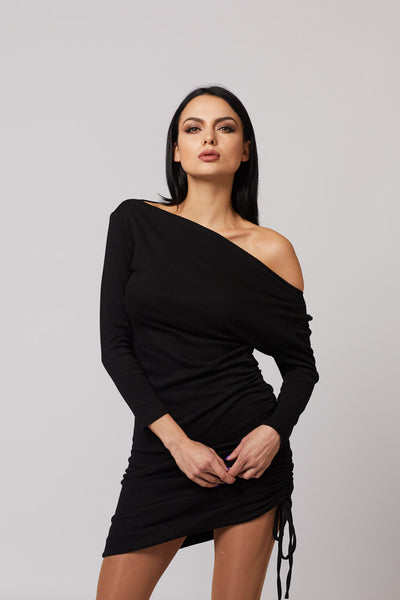 Wide Neck Ruched Dress - Berness