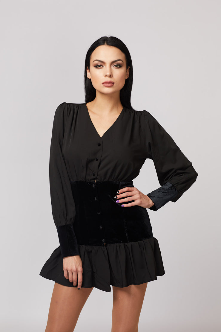 Black Frill Hem Velvet Detailed Dress - Berness