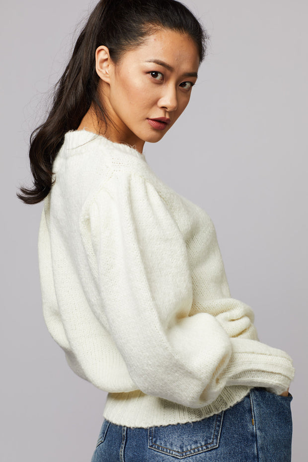 Puff Sleeve Knit Sweater - Berness