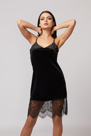 Velvet Lace Hem Dress - Berness