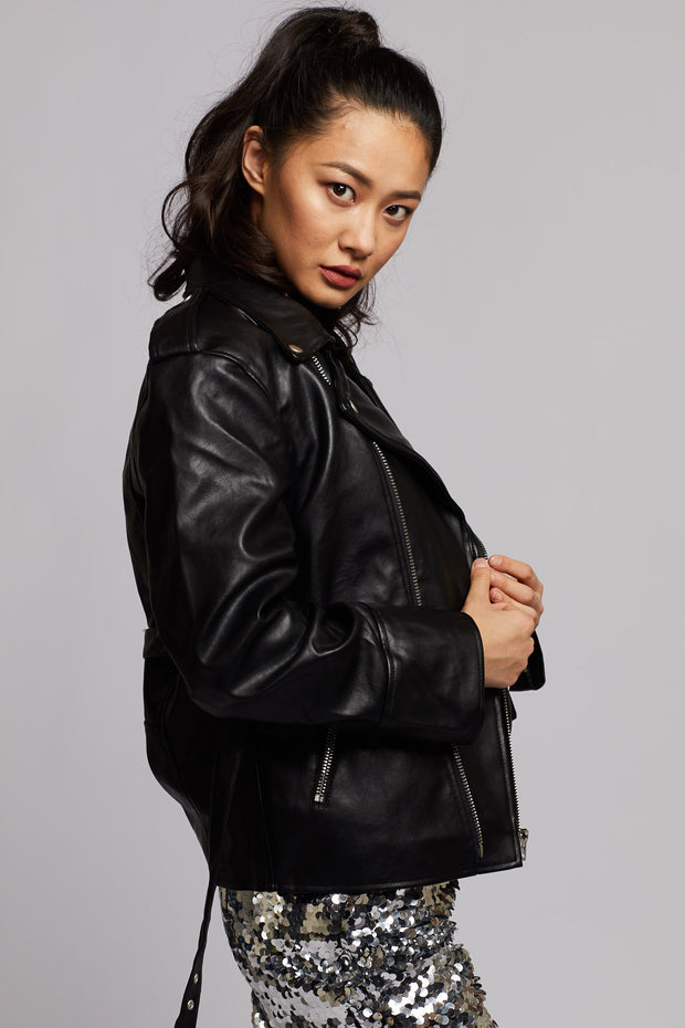 Black Faux Leather Jacket - Berness