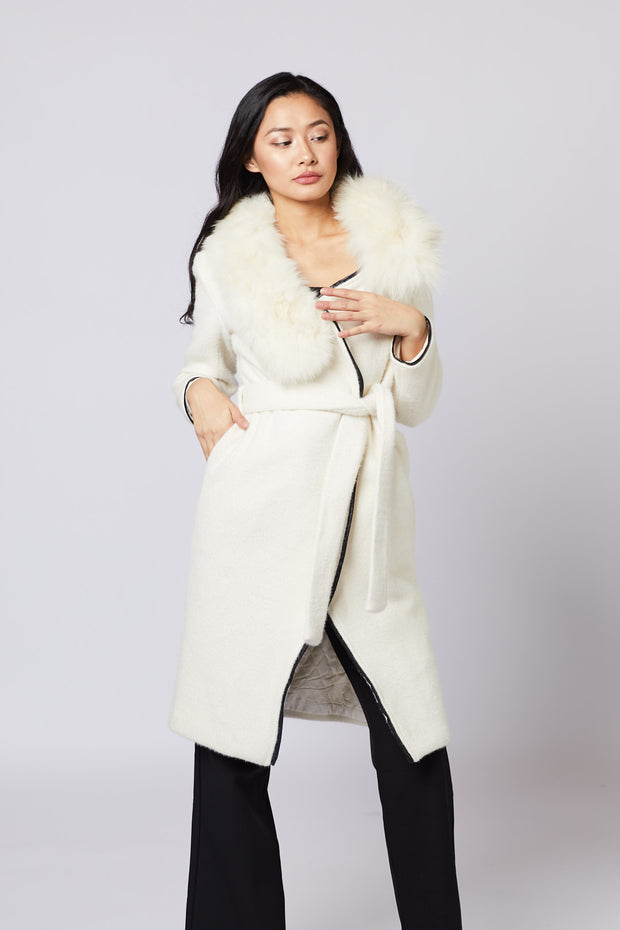 White Longline Fur Collar Coat - Berness