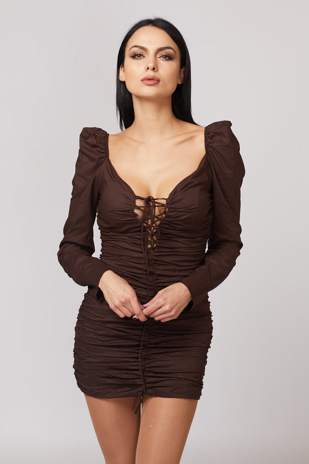 Ruched Lace Up Dress - Berness