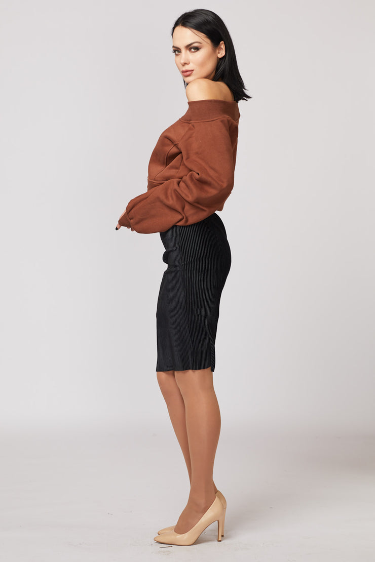 Velvet Ribbed Midi Skirt - Berness