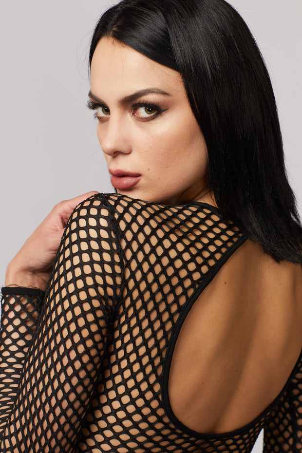 Black Fishnet Bodysuit - Berness