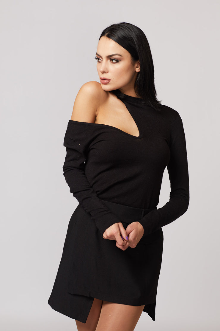Black Cut Out Long Sleeve Top - Berness