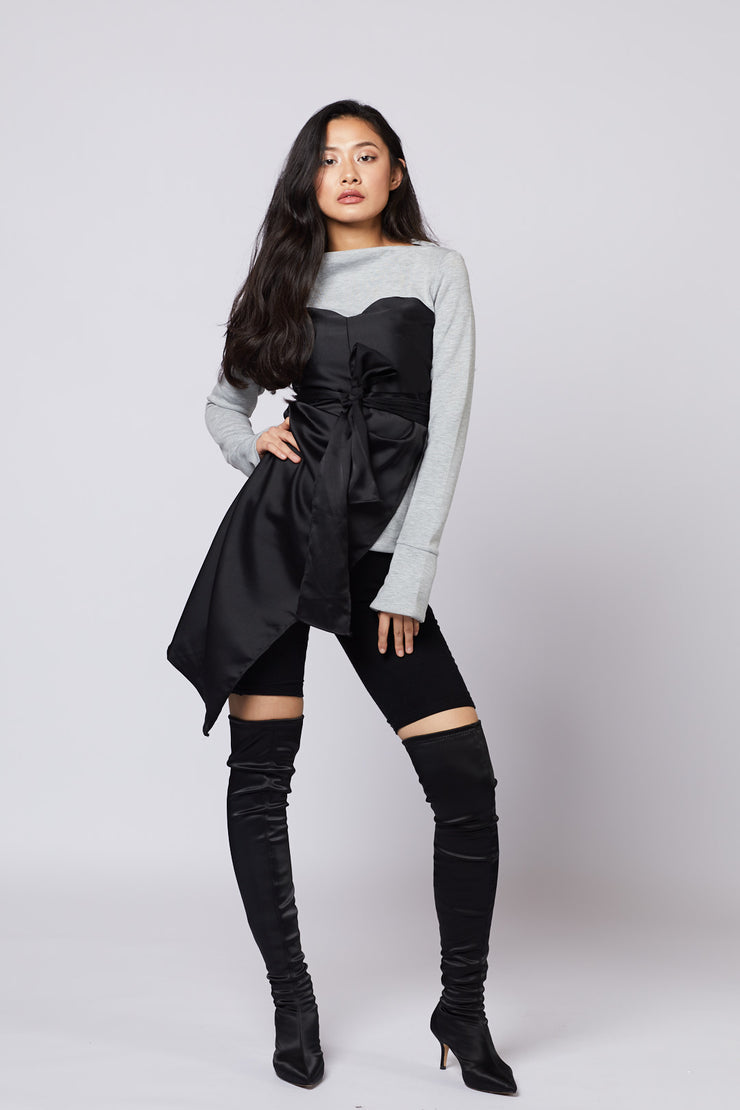 Satin Detailed Asymmetric Sweater - Berness