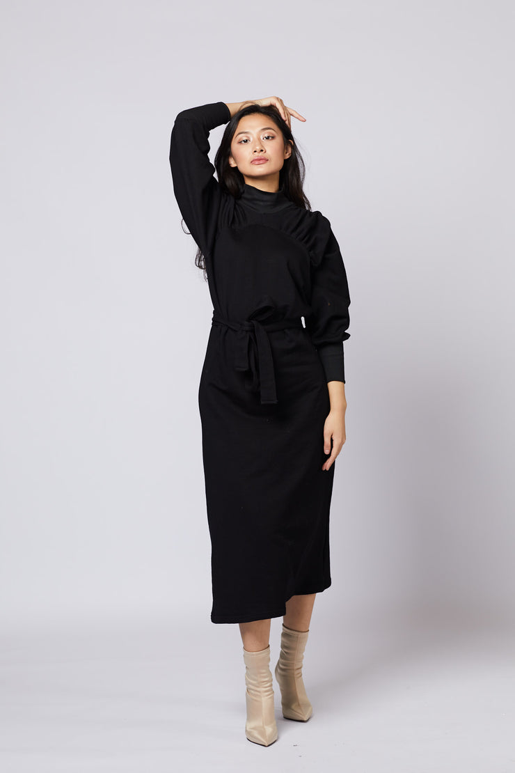 Black Maxi Dress Puff Sleeves - Berness