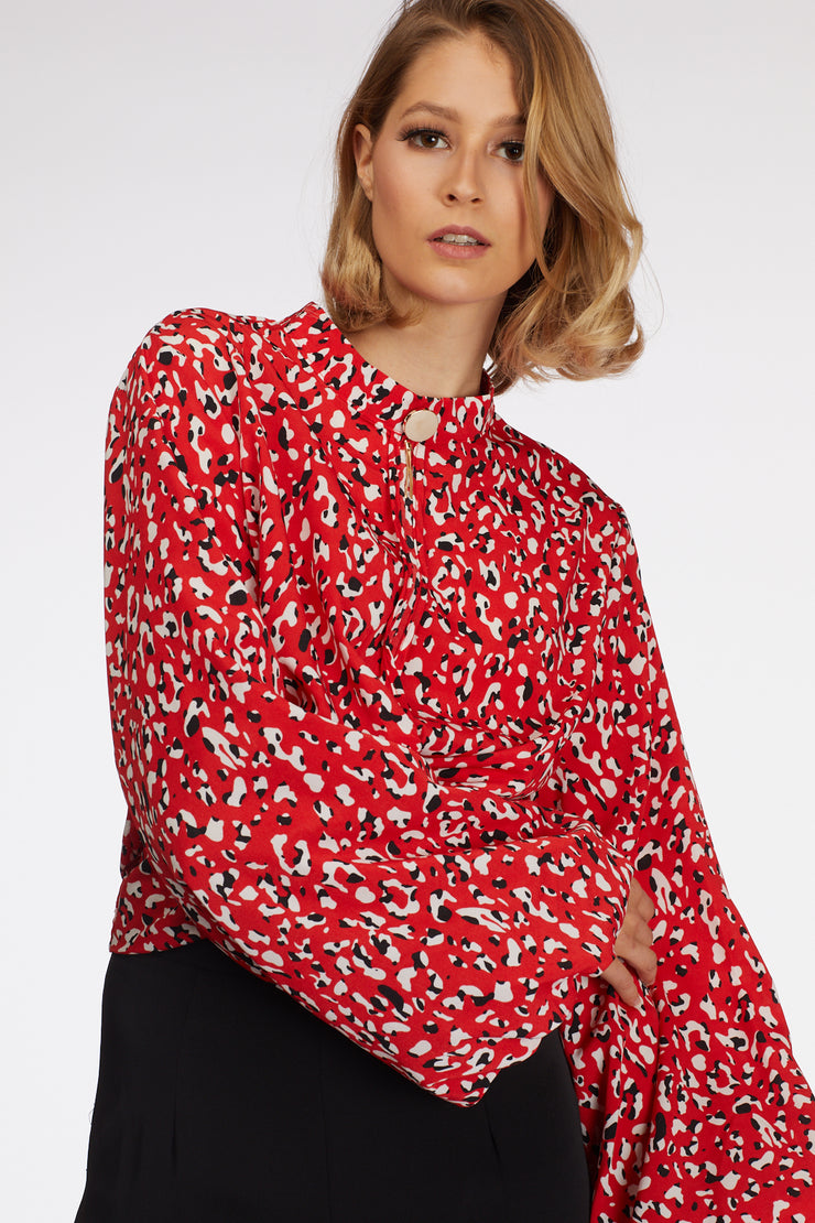Colored Leopard Printed Puff Sleeve Blouse - Berness