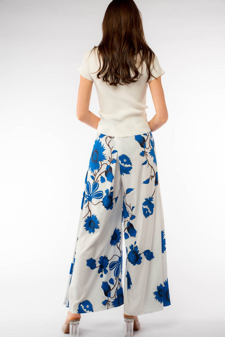 Super Wide Leg Floral Print Pants - Berness