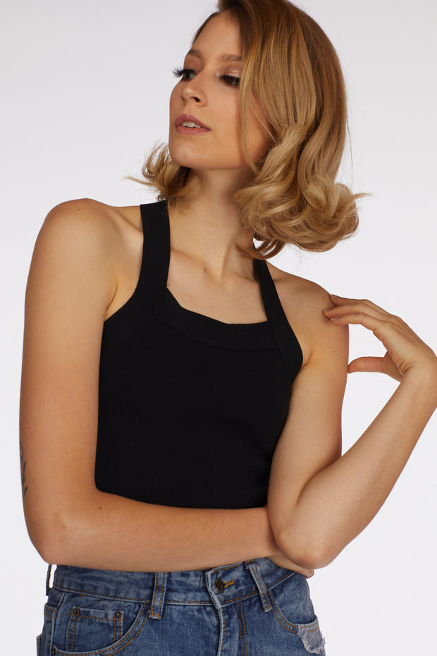Halterneck Back Tie Crop Top - Berness