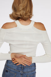 Cut Out Shoulder Ruched Longsleeve Top - Berness