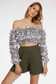 Pleated Wide Leg Shorts - Berness