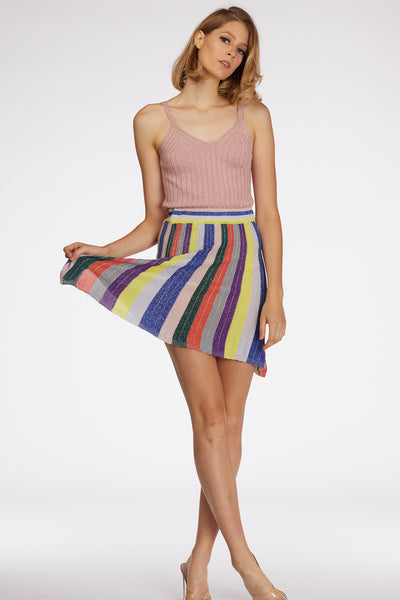 Multicolor Glitter Striped Skirt - Berness