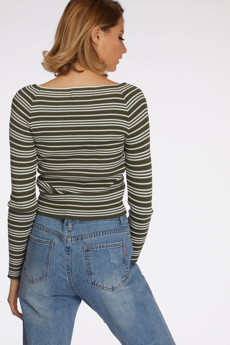 Stripe Ribbed Longsleeve Ruched Top - Berness
