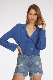 Cropped Double Button Cardigan - Berness