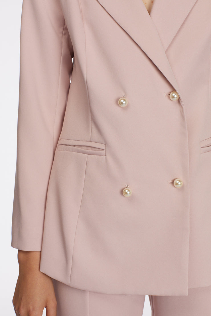 Power Suit Blazer with Pearl Buttons - Berness