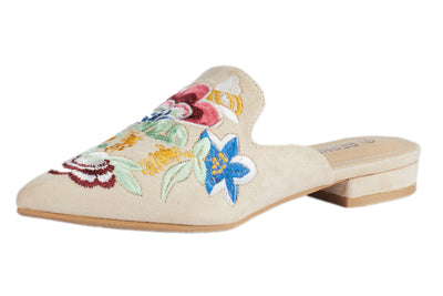 Beige Pointed Embroidery Bee Loafers - Berness