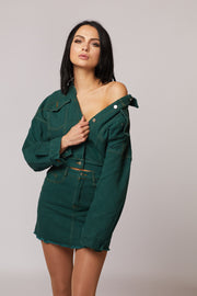 Green Denim Two Piece Set - Berness