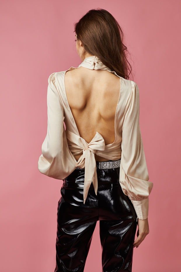 Satin Crop high neck Ruched Detailed top - Berness