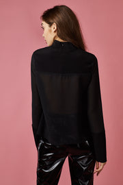 Black Long Sleeve Cup Detailed Top - Berness