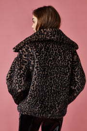 Leopard Print Faux Fur Jacket - Berness