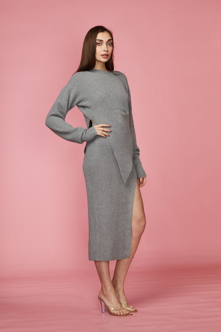 Grey Two Piece Knit Skirt Set - Berness