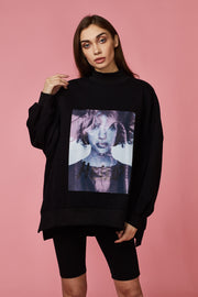 Hello Print Graphic High Neck Sweater - Berness