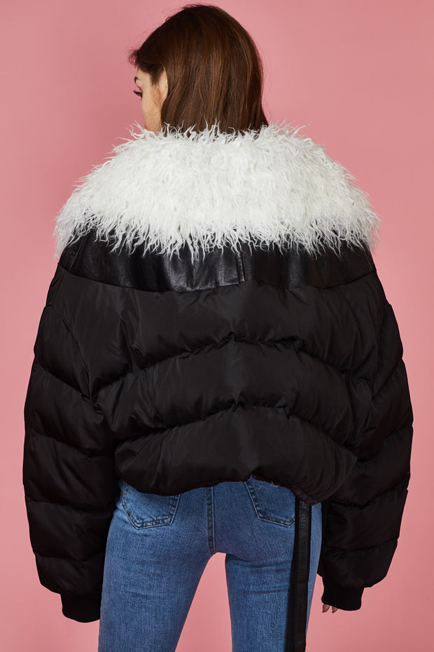 Black Bomber Faux Fur Collar Jacket - Berness