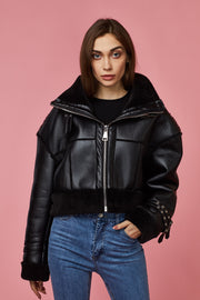 Black Faux Fur Collar Cropped Oversized PU Aviator Jacket - Berness