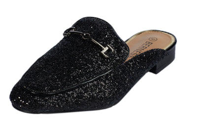 Black Glitter Loafers - Berness