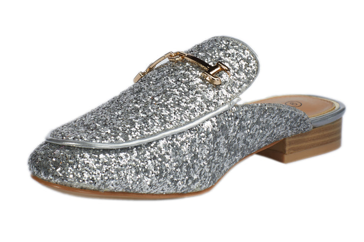 Silver Glitter Loafers - Berness