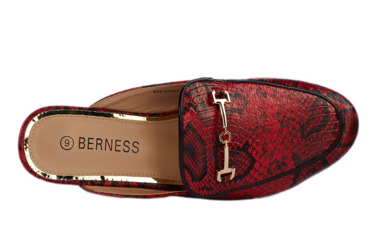 Red Serpentine printed Loafers - Berness