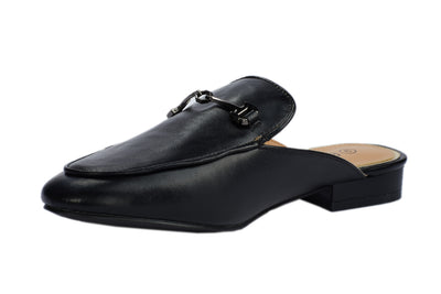 Black Faux Leather Loafers - Berness