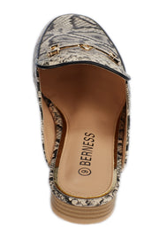 Beige Serpentine printed Loafers - Berness