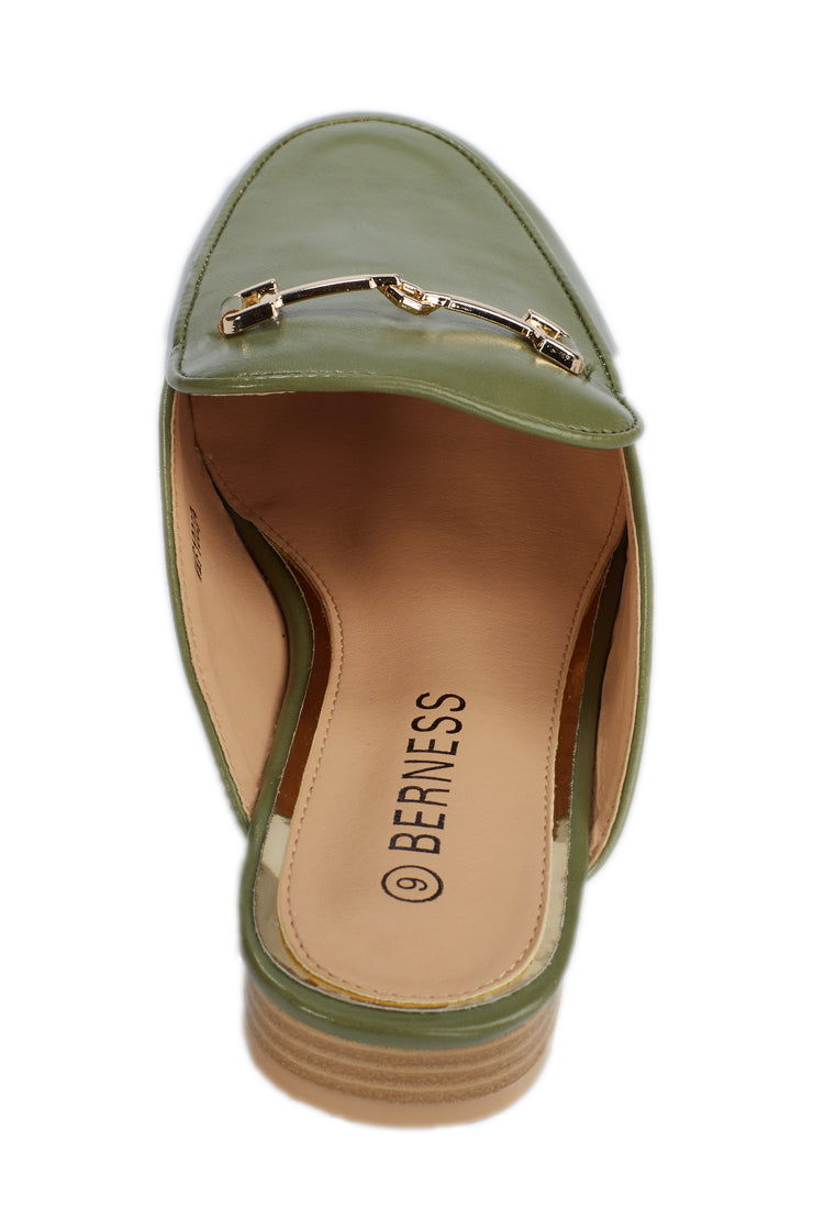 Green Faux Leather Loafers - Berness