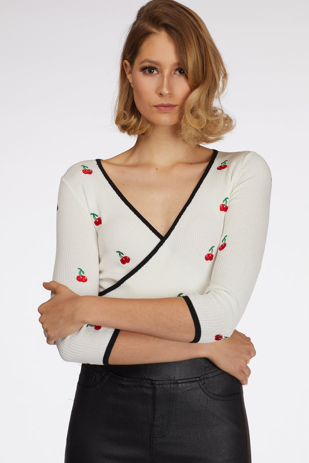 Cherry Wrap Crop Top - Berness