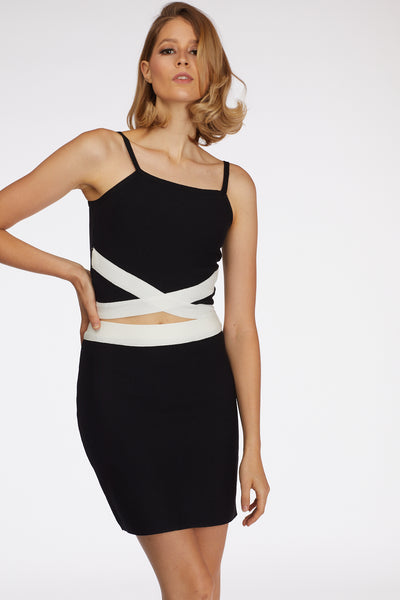 Bodycon B/W Two-Piece Party Set - Berness