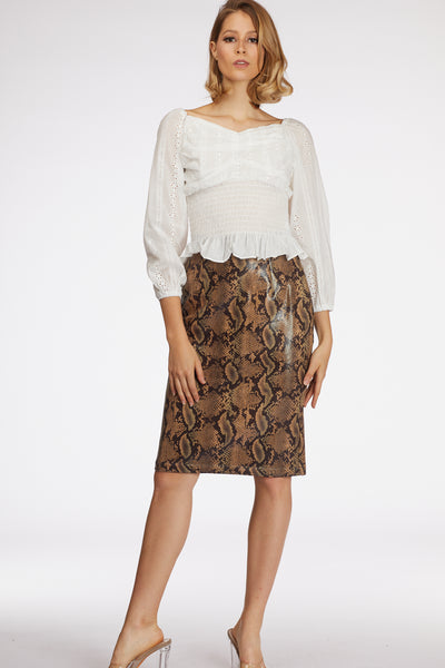 Faux Leather Snake Print Skirt - Berness