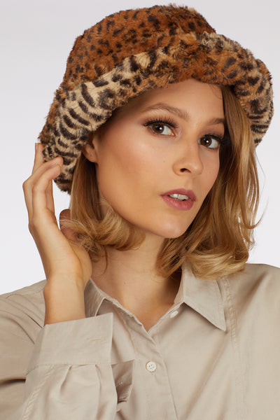 Leopard Faux Fur Bucket Hat - Berness