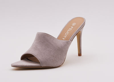 Pointed Peep Toe Mule In Grey - Berness