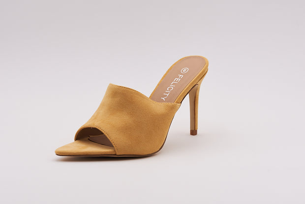 Pointed Peep Toe Mule In Yellow - Berness